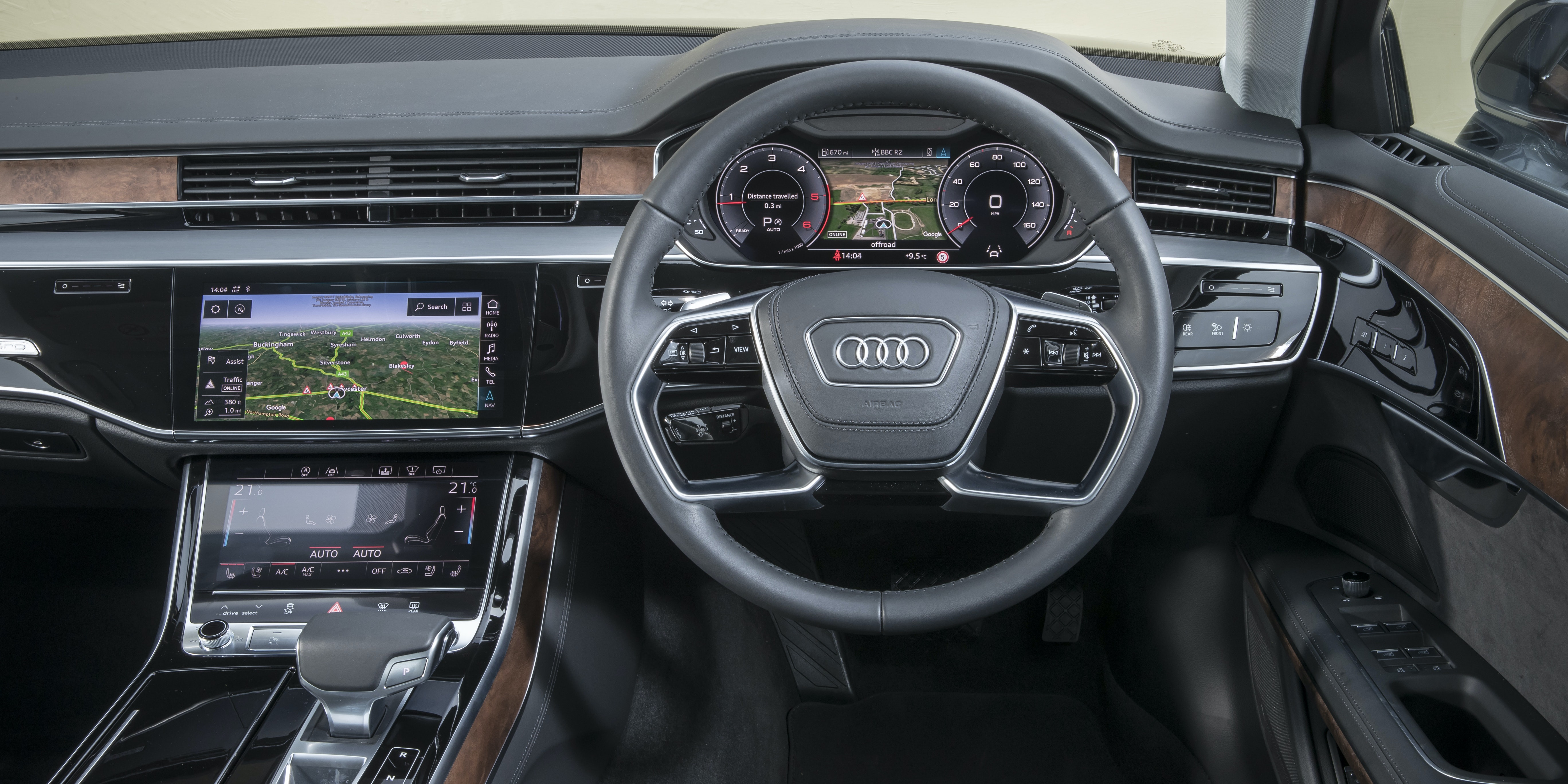 Getting comfortable behind the wheel of an Audi A8 is dead easy