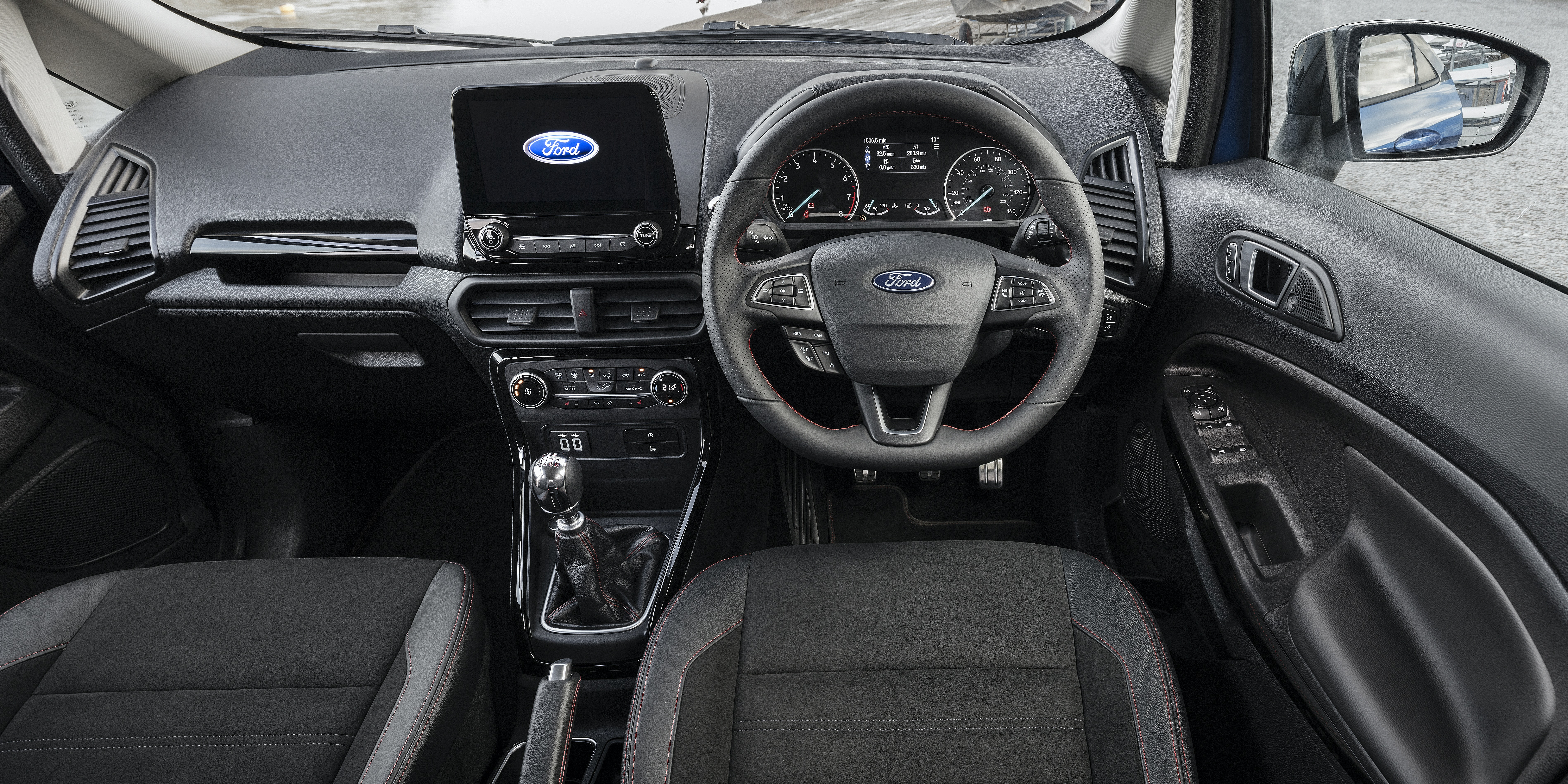The Ecosport shares its basic cabin design with the latest Fiesta, with a choice of two touchscreens