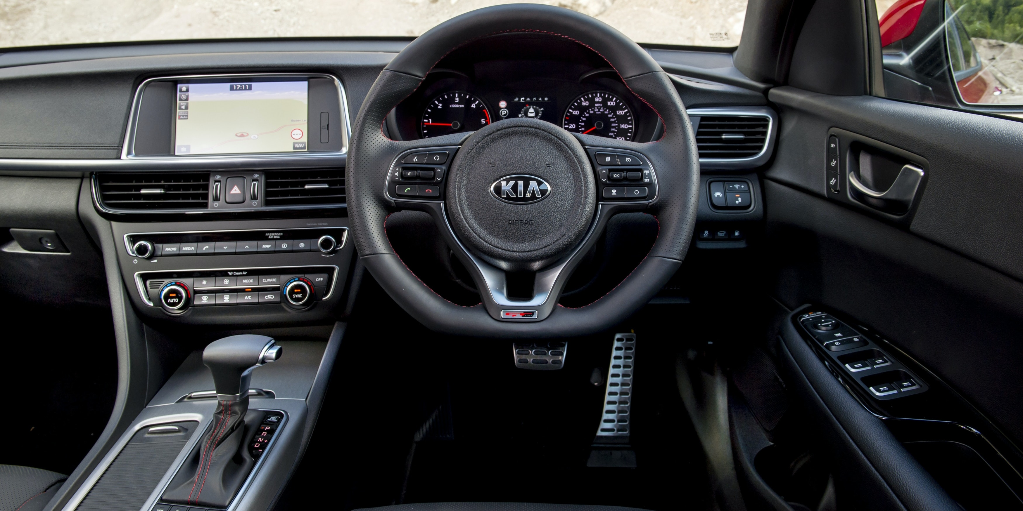 Interior quality is good for a Kia, but not a match for the VW Passat's