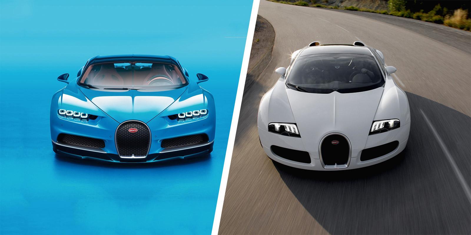 Bugatti Chiron vs Veyron speed/stats comparison | carwow