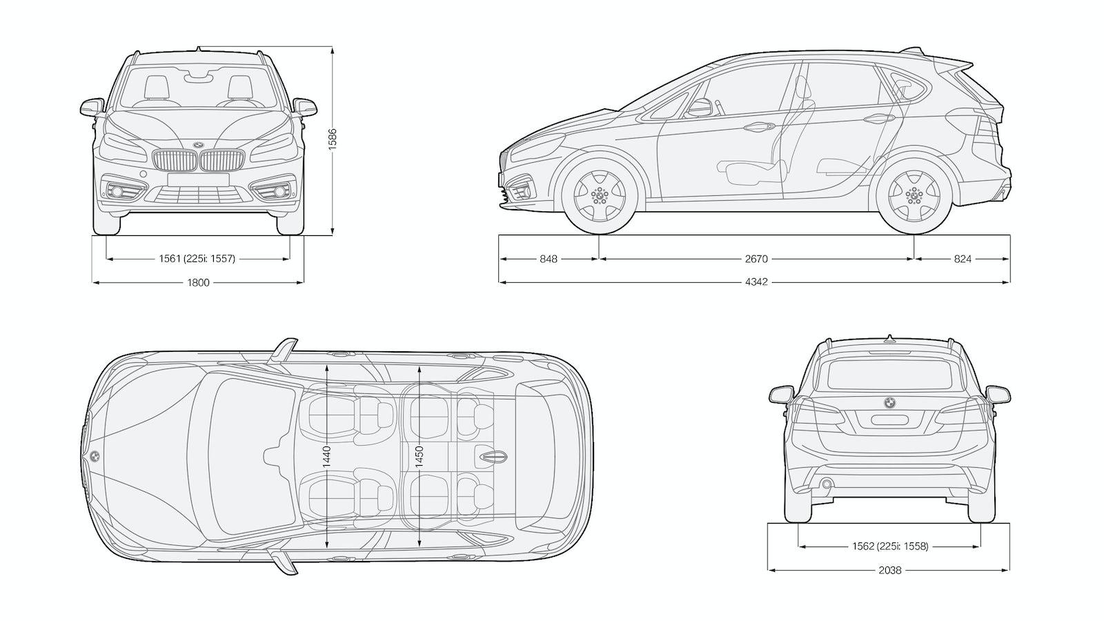 Dimensiones del BMW Serie 2 Active Tourer