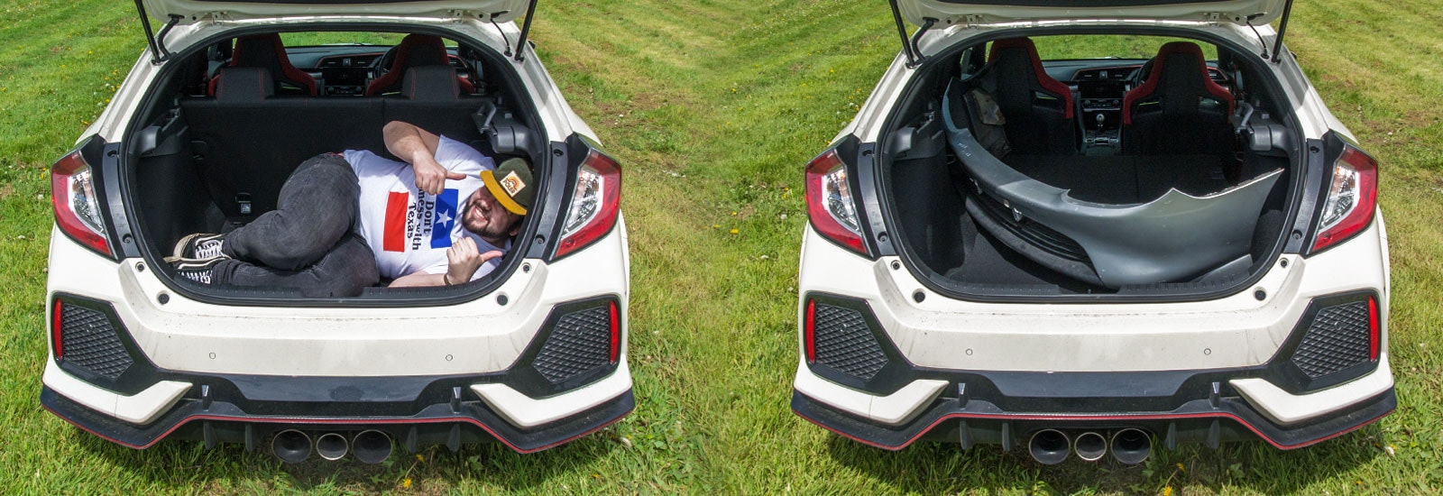 Championship White Honda Civic Type R parked with the boot open, viewed from the rear