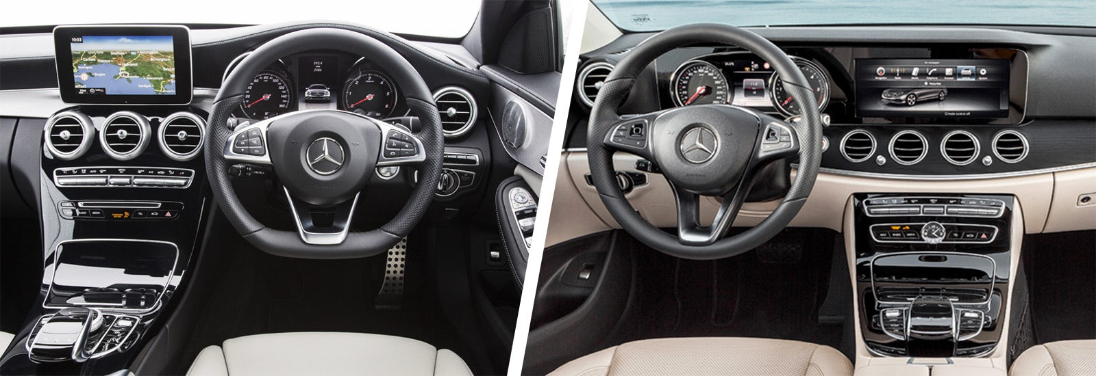 mercedes c class vs mercedes e class comparison carwow. Black Bedroom Furniture Sets. Home Design Ideas