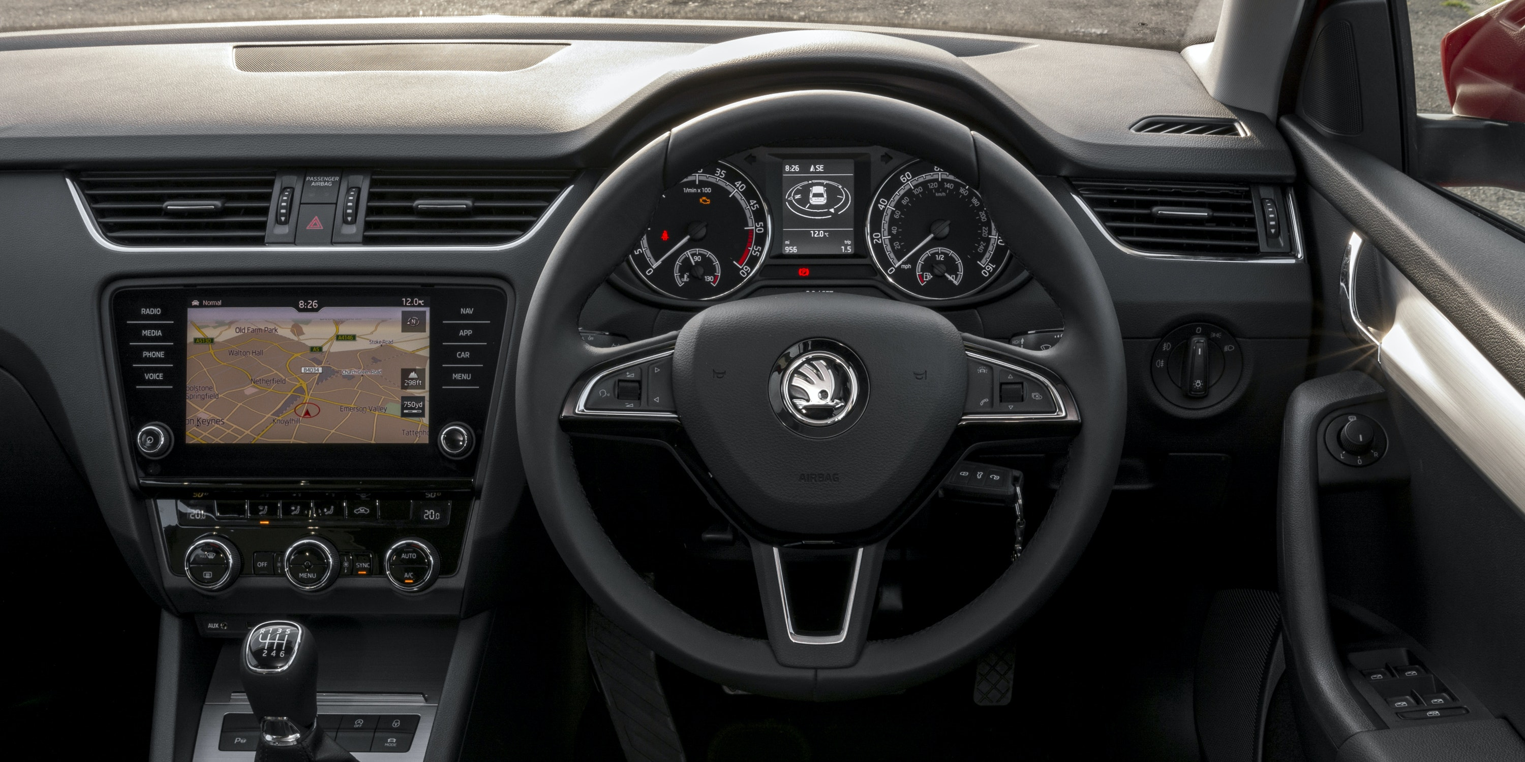 The Octavia's dashboard is well built and logically laid out